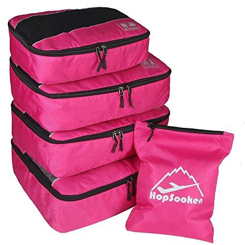 5 Pcs Kleidertaschen Kofferorganizer Gepäck Veranstalter Beutel Packtaschen Schuhtaschen - 5-Teiliges Set Rosa