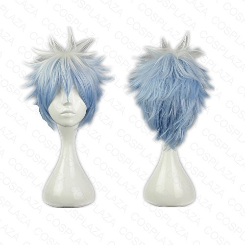 COSPLAZA Perruque Gintoki Sakata GINTAMA blanche bleue Mixed courte garçon Anime Cosplay Wigs