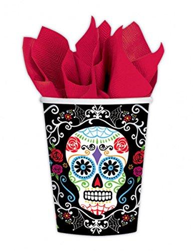 Generique 10 Vasos de cartón Día de los muertos 266 ml