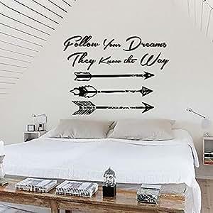 Ah121 Adesivo decalcomania per parete, motivo: acchiappasogni con scritta [in lingua inglese], per camera da letto, cameretta hippie
