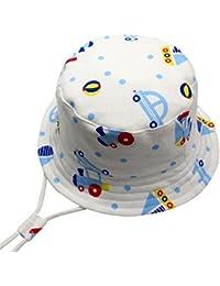 Langzhen Sombrero de Sol Gorro Bebé Gorra con Barbijo Niñas Hat de Pescador Tamaño Ajustable Cordón Transpirable Blanco 50+UPF