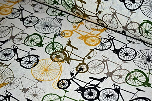 Premium 100% Baumwolle Polsterstoff Canvas Stoff Fahrrad Druck Design 150cm breit, Bicycle Print, FULL METRE