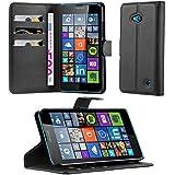 Cadorabo - Funda Nokia Lumia 640 Book Style de Cuero Sintético en Diseño Libro - Etui Case Cover Carcasa Caja Protección (con función de suporte y tarjetero) en NEGRO-FANTASMA