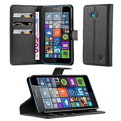 Cadorabo - Etui Housse pour > Nokia Lumia 640 < – Coque Case Cover Bumper Portefeuille (avec stand horizontale et fentes pour cartes) en NOIR DE
