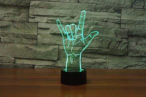 3D ich liebe dich, gebärdensprache Illusions Lampen, Tolle 7 Farbwechsel Acryl berühren Tabelle Schreibtisch-Nachtlicht mit USB-Kabel für Kinder Schlafzimmer Geburtstagsgeschenke Geschenk