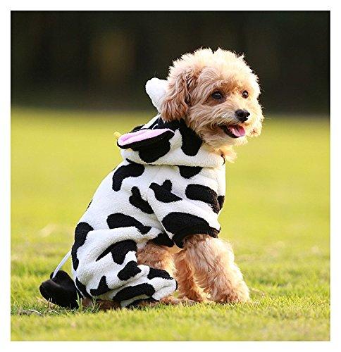 Kostüm Niedlich Kuh - Pet Hund Kostüm Kuh Muster niedliches weicher Einteiler Warm Pet Pyjama Kleidung