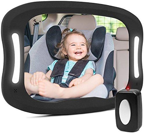 Rücksitzspiegel fürs Baby,Bruchsicherer Auto-Rückspiegel für Babyschale mit Großem Sichtfeld für die Beobachtung Des Kindes im Auto mit LED-Licht Einstellbar Sicherheitsspiegel Babyspiegel Schwarz
