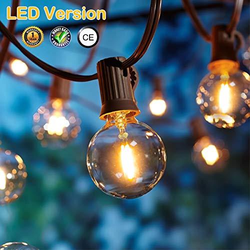 LED Lichterkette Außen,[LED Version] OxyLED LED Garten Lichterkette Terrasse außerhalb der Lichterkette,wasserdichte Innen/Außen-Lichterketten für Terrassenpatio Xmas,7,62m G40 12 Birnen -