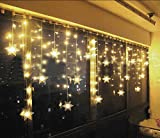 Hownew-X LED Snowflake Curtain Lights Outdoor/Indoor Waterproof String Fairy Decoration Lights For Christmas Tree Xmas Wedding Party Bedroom Home Garden Warm White, 96 lights, 3.5m(11.48ft)*0.65m(2. (warm white, uk specification)