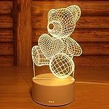 nouler Tierförmige Lampe Kreativer Stil Tischlampe Weihnachtsbeleuchtung Geschenk Augenschutz Für Das Schlafzimmer 3D Netter Stil Leseleuchte Schlafendes Licht/Bär/Einheitsgröße