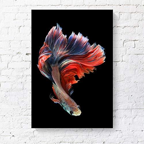 RTCKF dekorative malerei Betta Farbe Tropische Fische Rahmen malerei Hotel Wohnung leinwand malerei ohne Rahmen I1 30 cm * 40 cm (Fisch Betta Blume)