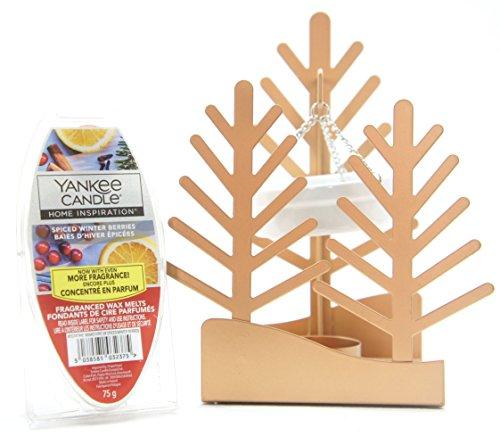 1x Offizielles Yankee Candle Winter Village Festive Season Baum Aufhängen Tablett Wax Melt Wärmer Brenner mit 6Spiced Beeren Cube Tarts