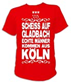 Artdiktat Herren T-Shirt Scheiß auf Gladbach - Echte Männer kommen aus Köln Größe XL, rot
