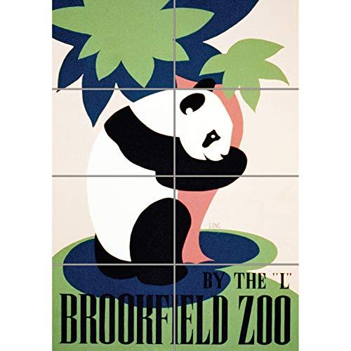 Doppelganger33 LTD Cultural Advert Brookfield Zoo Panda Usa Vintage Wand Kunst Multi Panel Poster drucken 33x47 inches