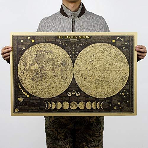 XCGZ Wandsticker Poster Globus Weltkarte Mond Mond Poster Karte Wandaufkleber Tapete Kunst Vintage Retro Papier 72 * 48Cm