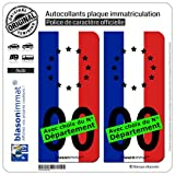 blasonimmat 2 Autocollants Plaque immatriculation Auto : France Europe - Drapeau Vertical