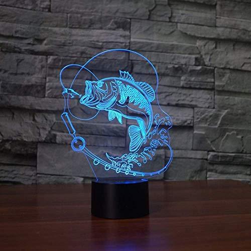 7 Farbwechsel Fisch 3D LED Lampe USB Charge Angeln 3D Nachtlicht Schreibtischlampe Touch Button Tischlampen Erstaunliche Geschenke für Kinder