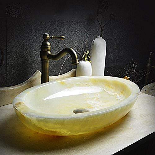 Gorheh Aufsatzwaschbecken Kunstwaschbecken Jade Ovales Steinwaschbecken Steinwaschbecken Großes Waschbecken