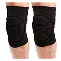 YJZQ Sponge Cushioned Knee Support Pad 1 Pair Crushproof Sport Kneecap Brace Elastic Sleeve Fitness Bike Basketball MMA Boxing Ski Knee Injury Protector Guard - Pain- relief, Warm-up