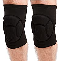 Sponge Cushioned Knee Support Pad 1 Pair Crushproof Kneecap Pad Brace Elastic Sleeve Fitness Dance Bike Motorcycling Volleyball Basketball MMA Boxing Ski Knee Injury Protector Guard for Sports, Gardening, Work - Pain- relief, Free-injury, Warm-up