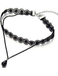Negro Encaje Cadena Tatuaje Collar de Gargantilla Choker Collar de Mujer, Lágrima Perla Negro Charm Colgante