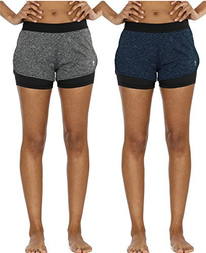 icyzone Damen Sport Shorts Kurze Hosen Sporthose - 2 in 1 Laufshorts Fitness Yoga Hot Pants (Charcoal/Royal Blue,L)