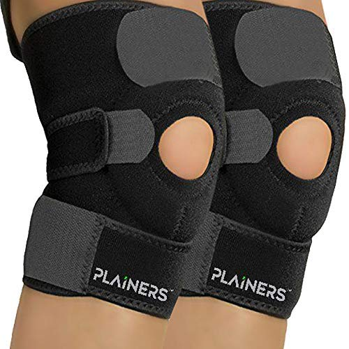 Plainers 2 Pack Knee Brace Support & Patella Stabilizer for Men & Women - Relieves ACL LCL MCL & Arthritis Pain. Perfect for Running Hiking Soccer Basketball Tennis & Squats. with Adjustable Straps -