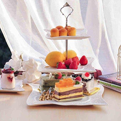 Europeo - stile piatto di frutta Tre - Snack Point Disc Bone China creativo Modern Living Room Pomeriggio vassoio da tè in ceramica pasticceria vassoio scaffale