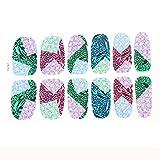 12 Stück bunte Rhombus Blätter gedruckt Nagel-Folien Fingernail Kunst-Aufkleber