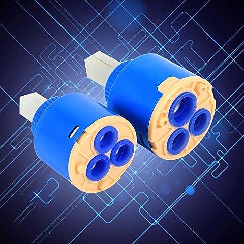 Generic Kaki foncé: 35/40mm cartouche à disques en céramique Eau robinet mitigeur Inner Vanne de robinet de contrôle PP Plastique Bluee pratique Cartouches en céramique