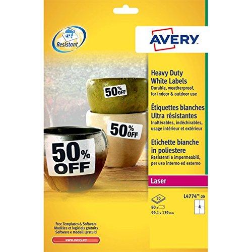 Avery L4774-20 Etichette Poliestere, Laser, Bianco/Argento