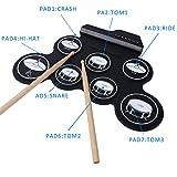 Batterie Electronique, CAHAYA Pad de Batterie d\'Entraînement Portable Electrique, Tambour Pliante Portative avec 2 Pédales et 2 Baguettes pour Enfants et Débutants
