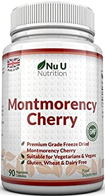Montmorency Cherry Capsules, 90 Capsules, Not Extract, Freeze Dried Montmorency Cherry With No Fillers or Binders by Nu U Nutrition by Nu U Nutrition