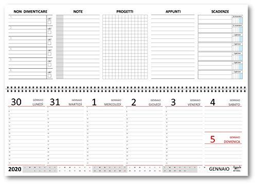 Planning agenda da tavolo 2020 settimanale spiralato con note ed appunti vari (carta 90 gr) 10x30 - planner da tavolo