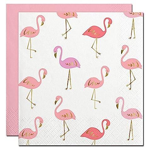 Slant Collections Gold Foil Pink Flamingos Paper Beverage Napkins by Slant Collections