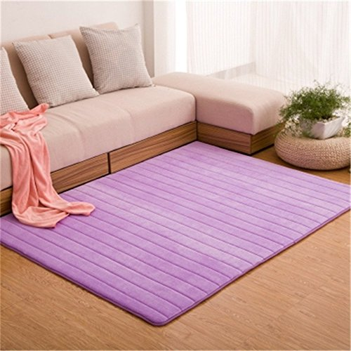 GRENSS Ultra-weiche Dicke Memory Foam saugfähigen Coral Fleece Stoff Teppiche Rutschfest Wohnzimmer Teppich Bad Teppiche Setzen shag Teppich, Streifen lila, 80 x 200 cm. - Purple Shag Teppich