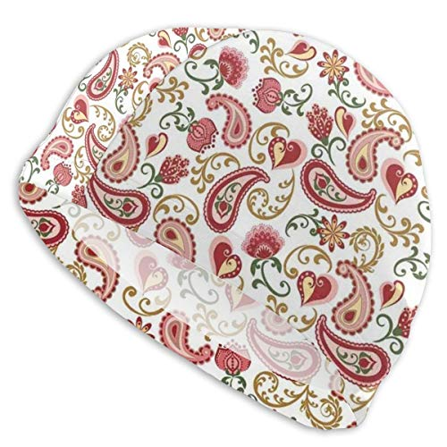 astic Swimming Hat Diving Caps,Ethnic Style Rose and Swirled Floret Buds Bohemian Lady Feminine Art Print,for Men Women Youths ()