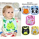 Wishkey Baby Bibs For New Born Infants Set Of 5 |Unisex Cotton Bibs For Boys And Girls|Multicolor Printed Velcro Feeding Bibs For 6 Months To 2 Years Kids|Soft,Comfortable And Absorbent Material Mashine Washable Easy To Clean Bibs