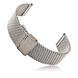Pebble 20mm Time Round Watch Band, Kissport Stainless Steel Watch Band Strap For Pebble 20mm Time Round Watch Band (A Milanese Silver)