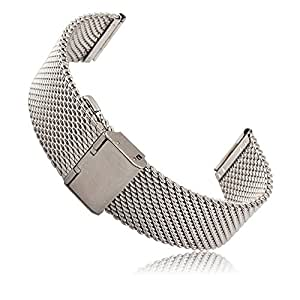 Pebble Time Round 20mm Watch Band, Threemart Stainless Steel Watch Strap Bracelet for Pebble Time Round 20mm Smart Watch (A - Milanese Silver)
