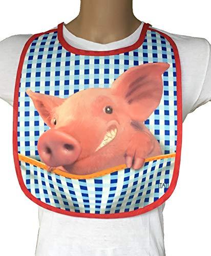 Lätzchen auch für Erwachsene Sabberlatz Latz = Schweinchen = Das witzige Original von ITATI Textilien (BA-20099)