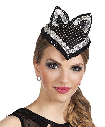 Karnevalsbud - Hut Kopfbedeckung Kostüm Katze Glitzer Strass, (Maske Schwarze Glitzer Bunny)