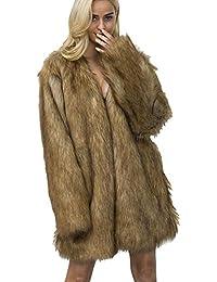 00349ff8a821 Vlunt Femmes Manteau de Fausse Fourrure Doux Imitation Fourrure Racoon Cardigan  Décontractée Fourrure Synthetique Parka Chic