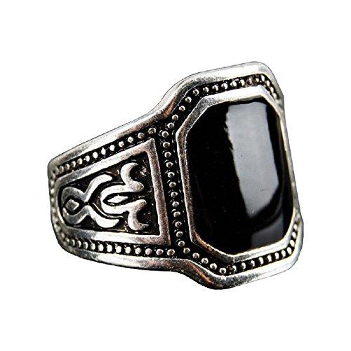 Ring Mit Schwarzen Eingelegten Stein FüR MäNner - GewäHlten MaßNahmen - Ein Geschenk (20) (Tote-maßnahmen)