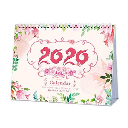 Calendario Da Tavolo 2020, Settembre 2019 - Dicembre 2020, Mensile, Agenda Giornaliera Calendario Da Tavolo Anno Accademico Per Scuola, Ufficio, Casa, Filo Doppio, 9.4x7.2 inch