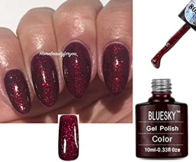 Bluesky 80545 Ruby Ritz Ruby Sparkle Deep Red Glitter Sparkle Nail Gel Polish UV LED Soak Off 10ml PLUS 2 Luvlinail Shine Wipes