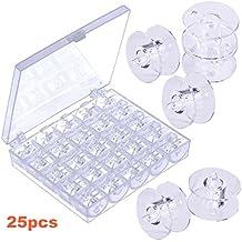 JZK® 25 piezas caja máquina de coser bobinas carretes caja para brother Janome Singer Elna Babylock Kenmore etc, plástico transparente