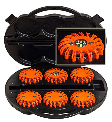 UvV-Shop UVL07.02 LED 6 Warnleuchten orange (1 x Notlicht, Arbeitslicht) Kofferset Unfall, Notfall, Leuchten Power-LED Flare Escape-Light Akku Rote-LED 12V/220V