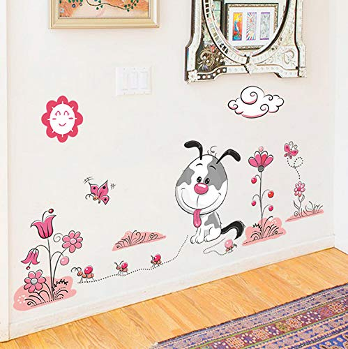 Cchpfcc Cartoon Tier Hunde Pet Puppy Blume Wandaufkleber FürKinderzimmer Wohnkultur Wandtattoos Pvc Wandbild Kunst Diy Poster