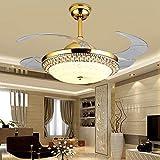 Crystal Dimmable Deckenventilator Licht, Fernbedienung Moderne Innen Dekoration LED Luxus Unsichtbare Versenkbare Decke Kronleuchter Beleuchtung 42 Zoll Gold